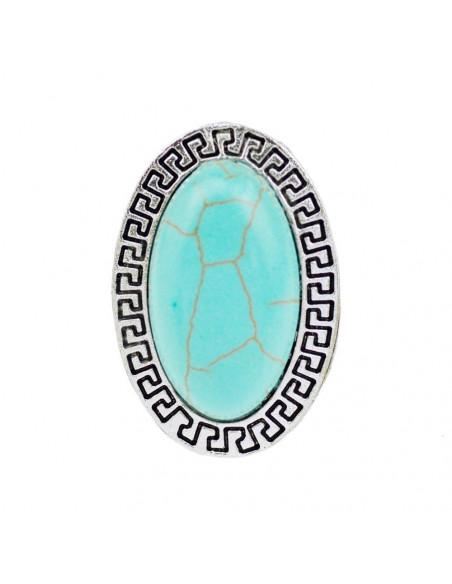 Inel oval argintiu patinat cu howlit turcoaz si bordura geometrica