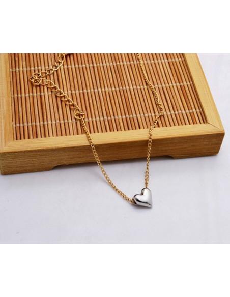 Bratara pentru glezna cu lantisor auriu si inimioara argintie