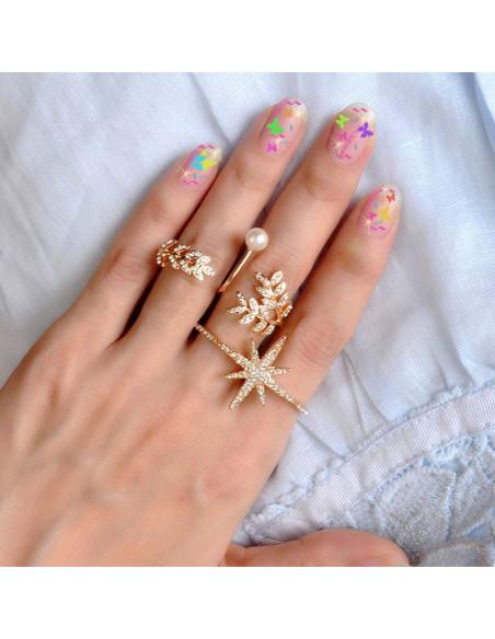 Inel pentru 2 degete, model cu stea si cristale