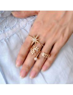 Inel pentru 2 degete, model cu ramuri, cristale si perla