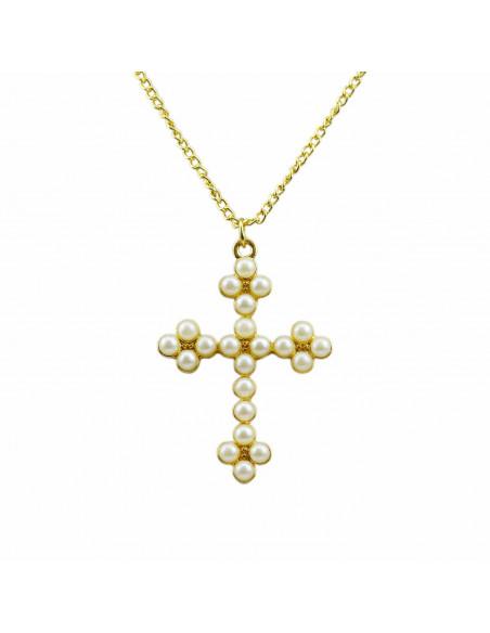 Lantisor subtire elegant cu medalion cruce cu perle albe