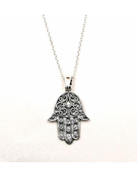 Lantisor subtire argintiu cu medalion Hamsa cu ochi