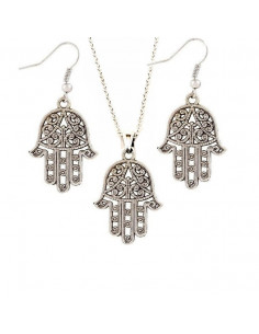 Set cercei si lant cu medalion Hamsa argintii