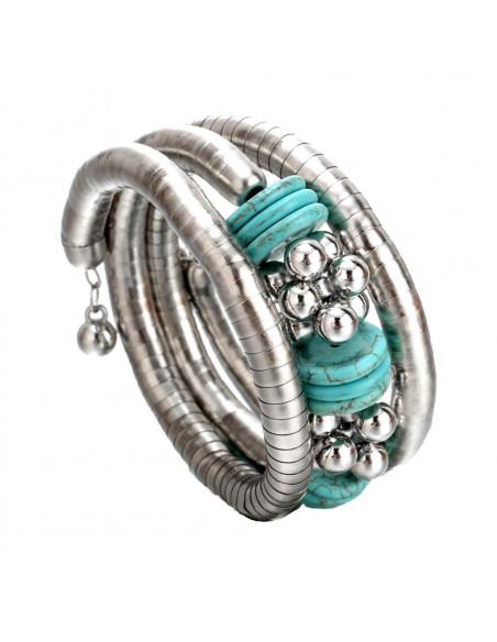 Bratara etnica tip spirala, din inele metalice, cu margele si discuri turcoaz