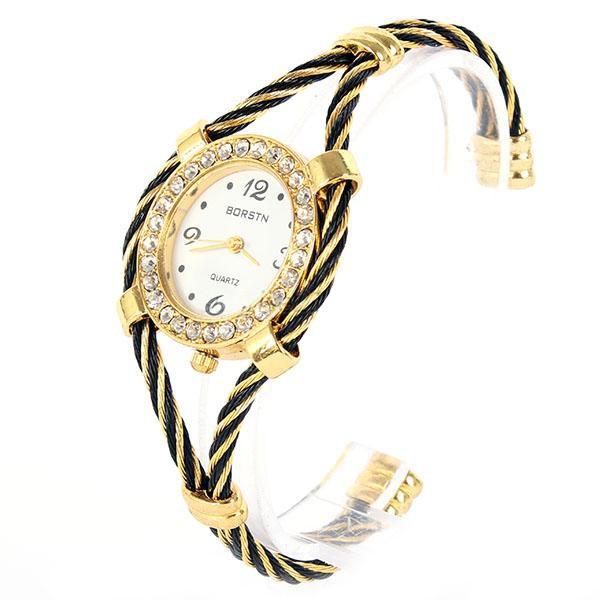 Ceas de mana, cu cristale, curea arcuita in jurul incheieturii