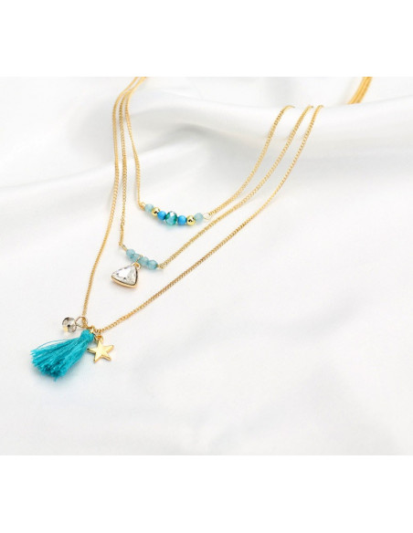 Colier boho auriu elegant, cu 3 lanturi lungi, cristale, margele si canaf