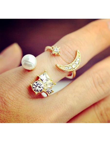 Set 2 inele elegante, cu cristale si perla
