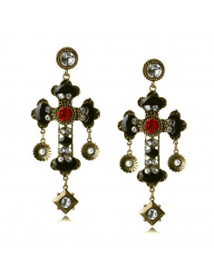 Cercei statement model baroc, cruci auriu cu negru, perle si cristale