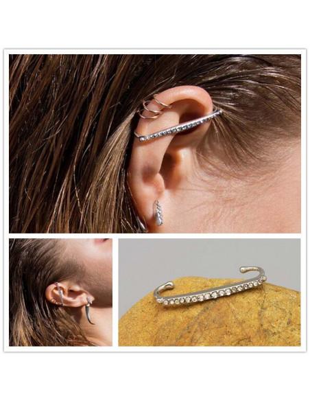 Cercel ear cuff cu cristale, prindere doar pe varful urechii