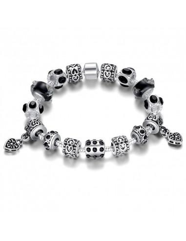 Bratara placata cu argint tip Pandora, cu inimioare si cristale negre