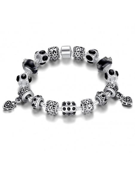 Bratara placata cu argint tip Pandora, cu inimioare si cristale