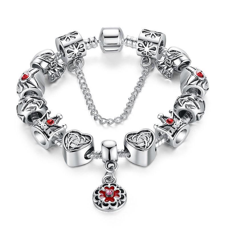 Bratara placata cu argint tip Pandora, Queen cu inimioare si flori