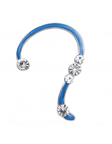 Cercel ear cuff fosforescent, model cu cinci cristale albe