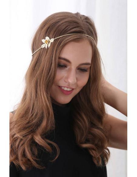 Bentita boho chic, floare de trandafir cu frunze si lantisor
