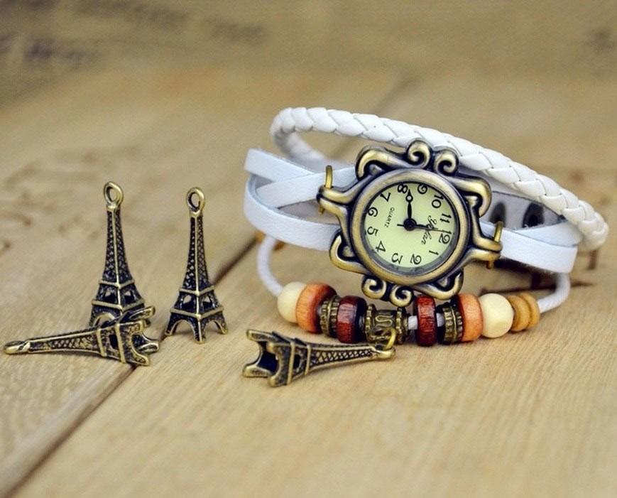 Ceas de mana vintage, cu lucky charm turnul Eiffel, curea piele impletita