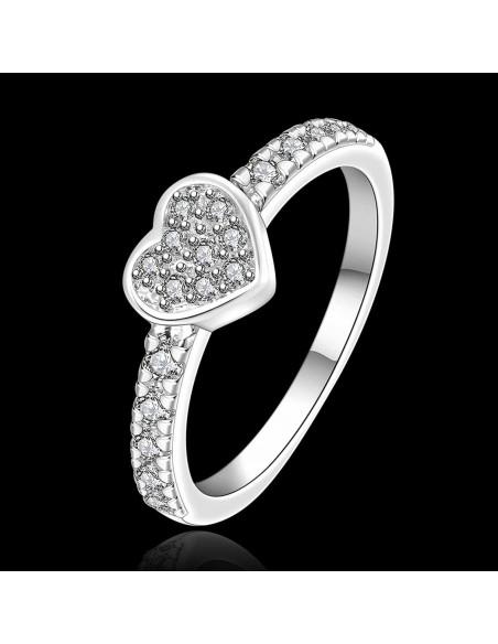 Inel de logodna cu inimioara si cristale, argintiu