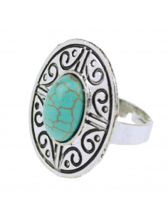 Inel etnic argintiu, model oval cu piatra turcoaz si rama florala