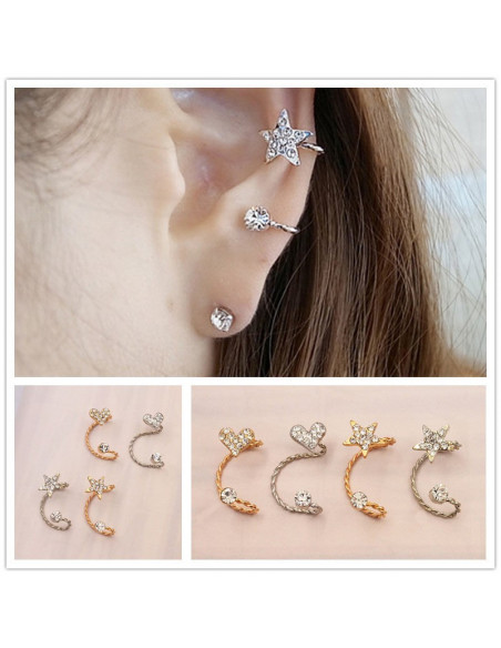 Cercel ear cuff pentru ambele urechi, fir rasucit cu steluta si cristale