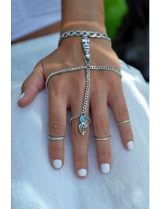 Bratara cu inel, model indian cu medalion si piatra turcoaz