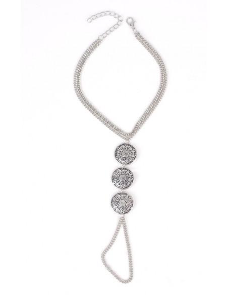 Bratara de glezna cu inel, model indian cu trei medalione florale