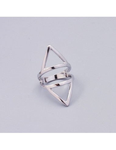 Inel etnic argintiu, doua triunghiuri separate metalice, vintage