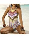 Costum de baie intreg, model boho cu raze de soare si motive etnice