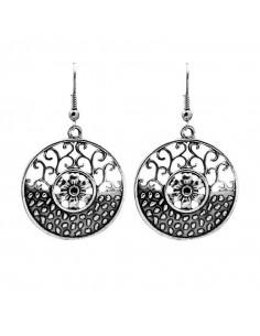 Cercei argintii indieni, model etnic rotund floral