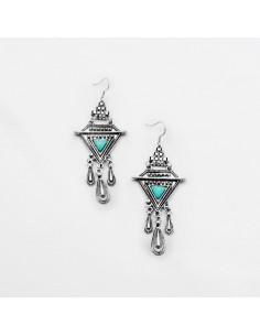Cercei argintii indieni, model etnic geometric cu triunghiuri howlit