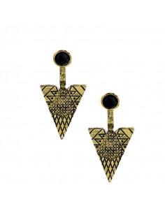 Cercei indieni, model etnic geometric cu triunghiuri si margea