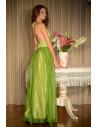 Rochie verde din matase naturala, cu fluturi brodati