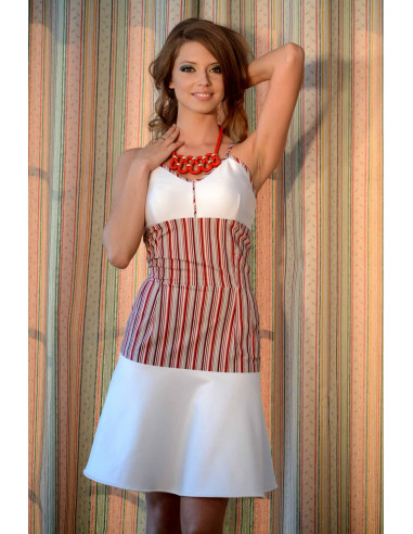 Rochie vesela in dungi, alb cu rosu, fusta larga