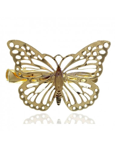 Agrafa pentru par aurie, model cu fluture