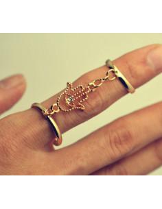 Set 2 inele elegante, cu palma Hamsa si cristal