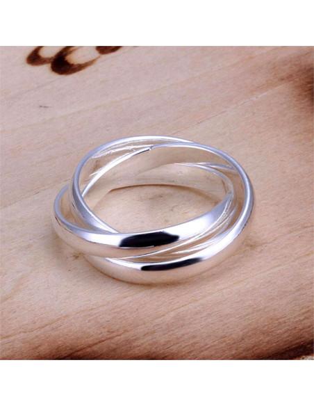 Inel placat cu argint Puzzle din 3 verighete interconectate