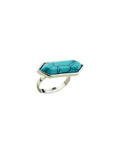 Inel argintiu boho, model vintage cu piatra howlit hexagonala