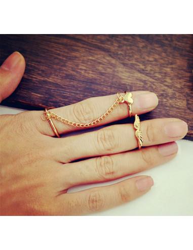 Set 3 inele aurii minimal, midi, cu lantisor, inimioara si aripi