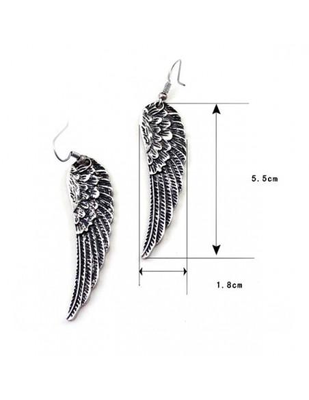 Cercei argintii boho chic, model aripa lunga