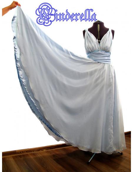 Rochie de seara din matase transparenta bleu, captusita cu saten, rochie larga si vaporoasa