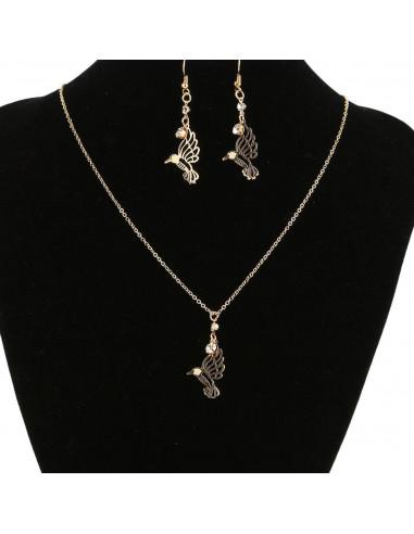 Set cercei si lant cu medalion, pasarea colibri