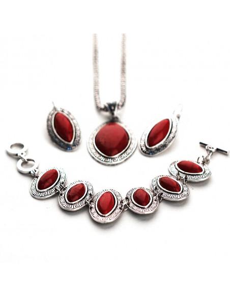 Set argintiu patinat, cu medalioane Cat Eye si pietre rosii