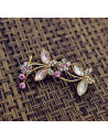 Cercel ear cuff, model statement cu fluturi si cristale albe si roz