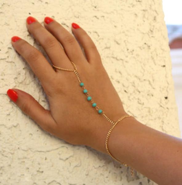 Bratara arabeasca cu inel simplu si cinci margele turcoaz