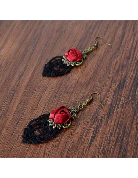 Cercei din dantela neagra cu trandafir rosu