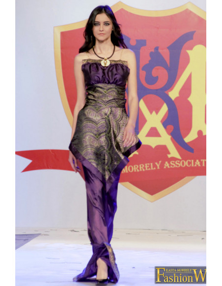 Rochie lunga de seara, mov cu peplum, 'Purple'