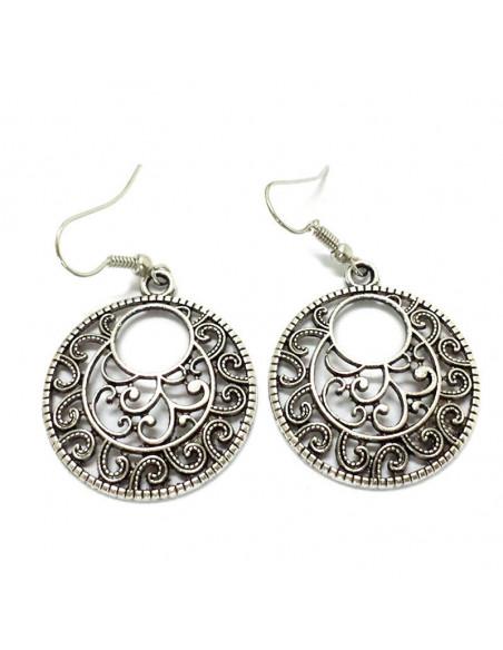 Cercei argintii indieni, model etnic rotund spirale abstracte