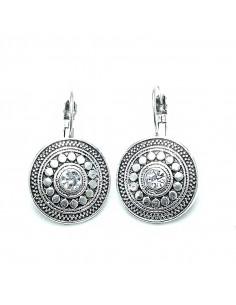 Cercei argintii indieni, model etnic rotund cu cristal alb