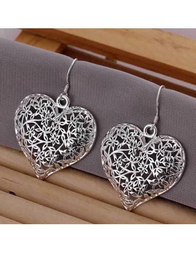 Cercei placati cu argint, inimi mari filigranate, cu flori
