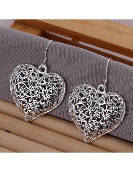 Cercei placati cu argint, inimi mari filigranate