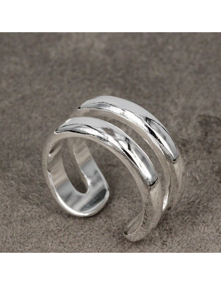 Inel placat cu argint, doua verigi paralele, model minimal