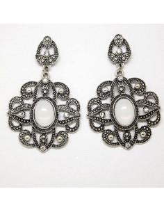 Cercei indieni statement, floare mare cu cristal oval alb